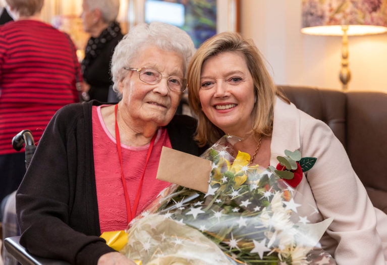 Elsie Gall (Bunty) and Fiona Kennedy at Auchmacoy Lodge